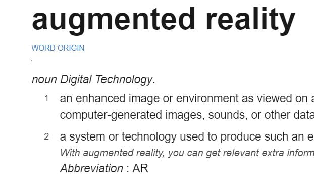 Augmented Reality Definitions